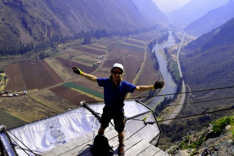 Two Monkeys Travel - Sacred Valley Peru - Standing on top of the Skylodge - The world'd scariest hotel!