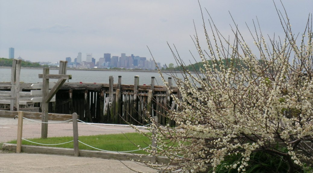 Boston as seen from the Georges Island, one of the Boston Harbor Islands