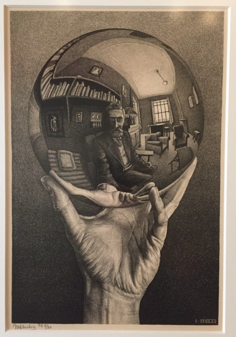 "M.C. Escher's litograph ""Hand with reflecting sphere"" (self-portrait)"