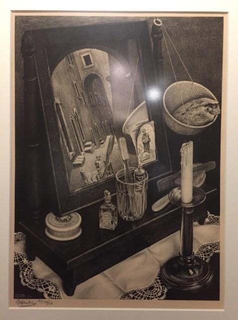 M.C. Escher's 1934 lithograph, Still life with mirror