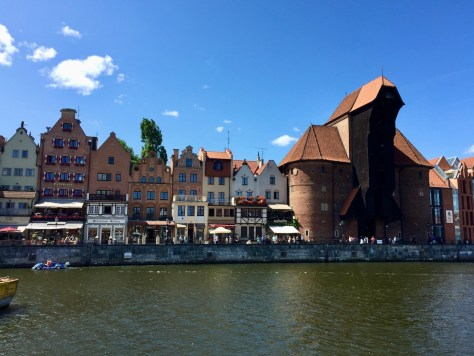 Brama Żuraw - a 15th-century brick waterfront crane towering above the canal, that nowadays houses the National Maritime Museum on Długie Pobrzeże = Long Strand, in Gdańsk, Poland.