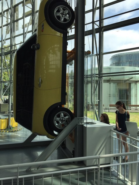 figuring out how to lift a car with the help of windlasses at the Experiment Science Centre (Centrum Nauki Experyment) in Gdynia (Poland)
