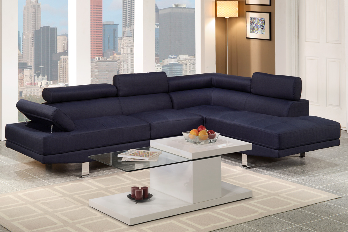 Alpha Sofa Group 2 Pc Sectional Sofa Set Dark Blue Fabric F7569