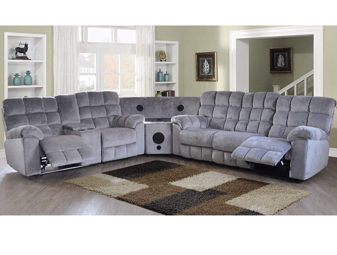Java Collection Sectional With Bluetooth Speakers Gray - Bluetooth Couch