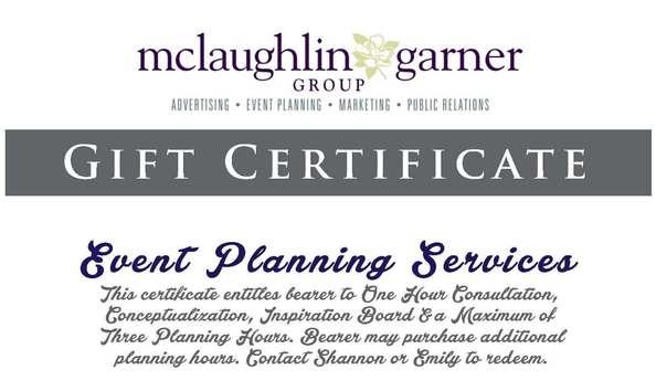 McLaughlin Garner Group, LLC - Gift Certificate for Event Planning
