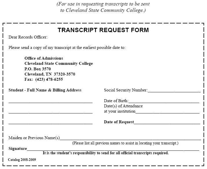 Transcript Request Form - Cleveland State Community College - Acalog - student request form