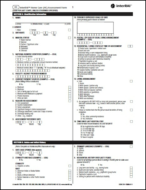 HC  interRAI Home Care (HC) Assessment Form, 91 - License to Print - Assessment Form In Pdf