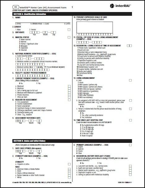 HC  interRAI Home Care (HC) Assessment Form, 91 - License to Print