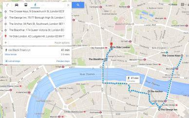 mapa rota dos pubs