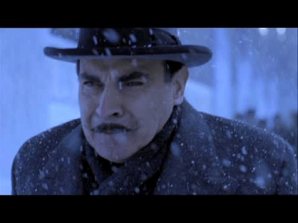 Figure 3 Hercule Poirot (Albert Finney) in the adaptation of Agatha Christie's story - he does not look happy about all the snow