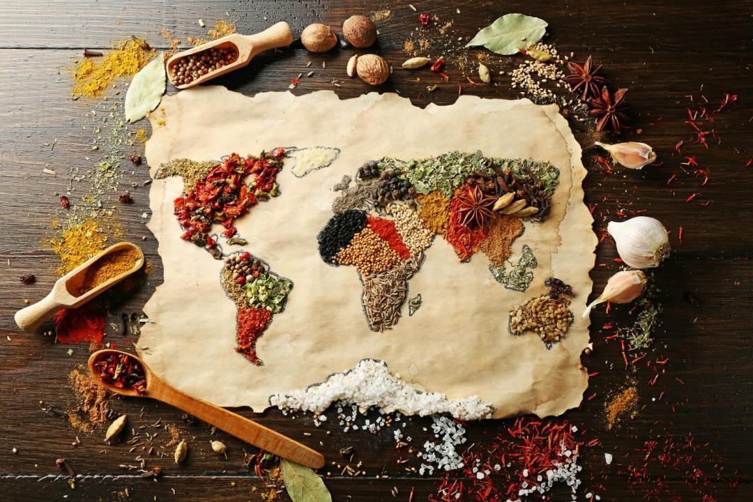 world map food