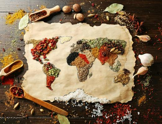 world map food