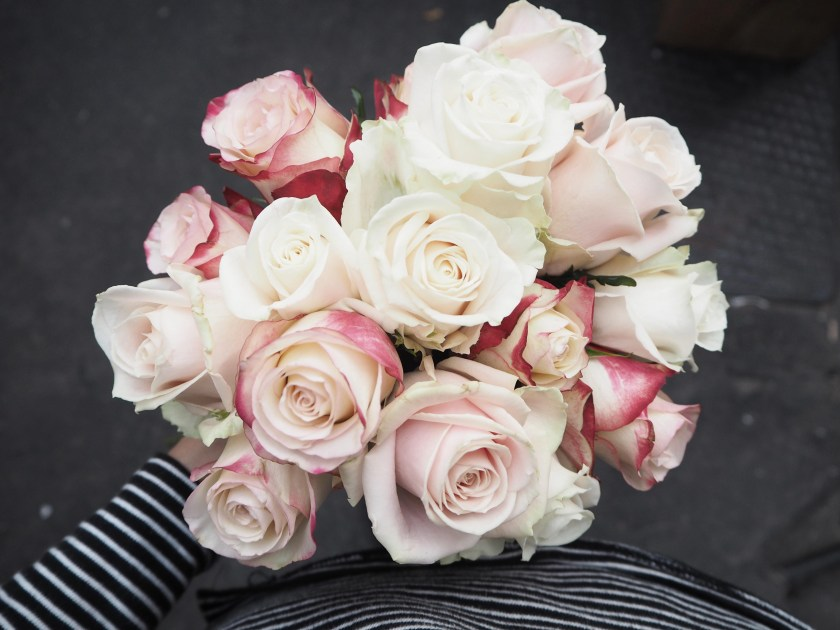 Arranging a hand tied rose bouquet