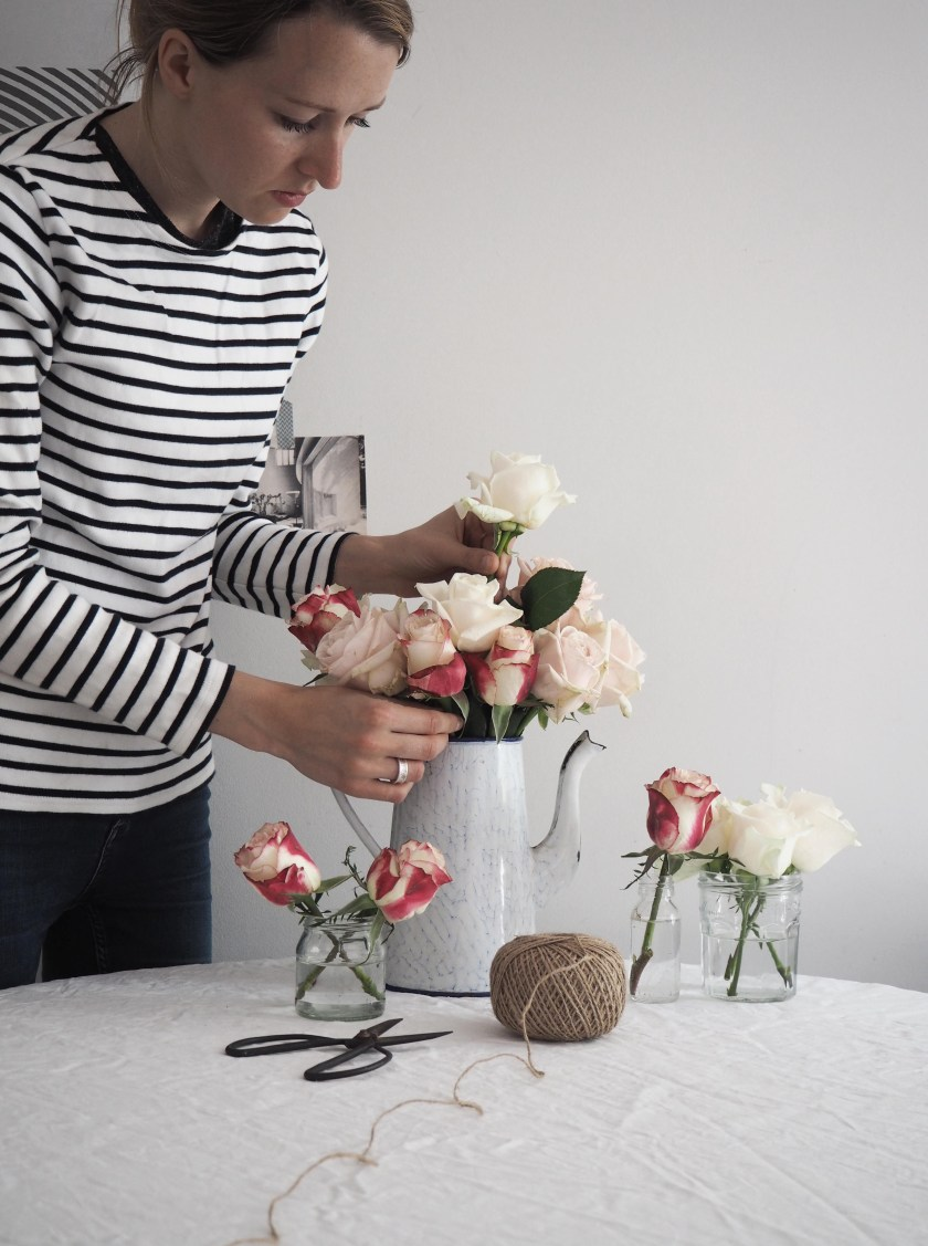 Flower arranging roses