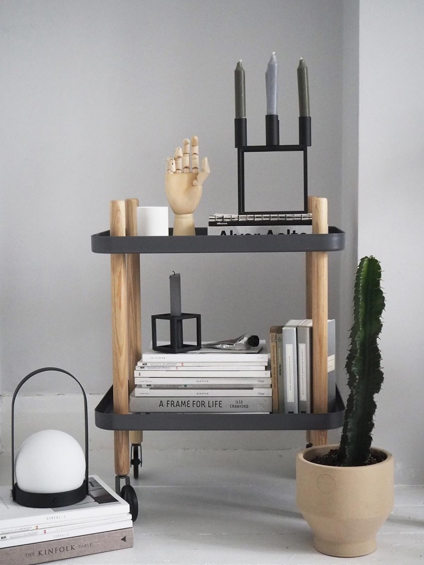 My home on Amara's Home Inspiration page - Scandinavian style interiors - grey living room - trolley bar cart