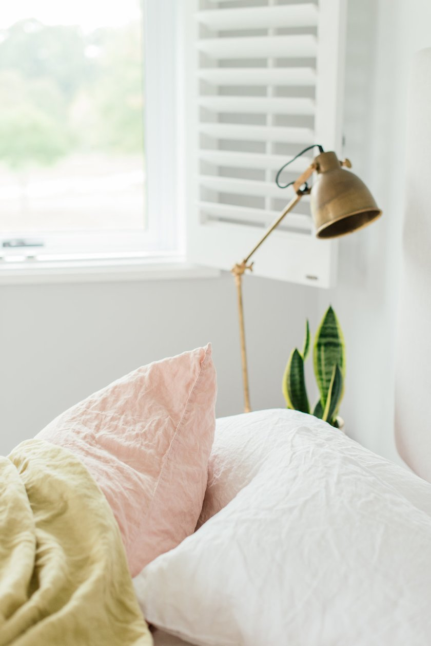 Pure linen pillowcases white and blush