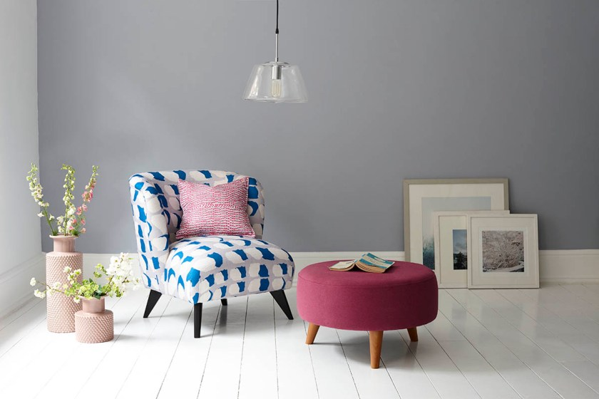DFS Capsule Collection for small space living - patterned occasional chair