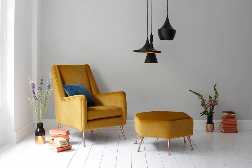 DFS Capsule Collection for small space living - mustard yellow velvet armchair