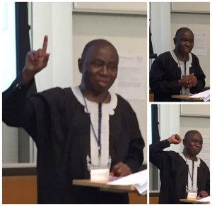 Clem at podium lecturing on Koko Free Trade Zone at Wharton Africa Business Conference