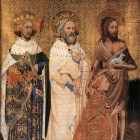 The Wilton Diptych. Edmund is shown with Edward the Confessor, John the Baptist and Richard II.
