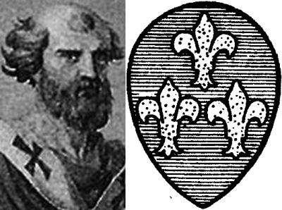 illustration of Pope Celestine II, date unknown, artist unknown, and the New Catholic Dictionary illustration of the coat of arms of Pope Celestine II