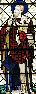 detail of a Saint Gregory of Nazianzen stained glass window, Sir Ninian Comper, Ely Cathedral; swiped with permission from the flickr account of Brother Lawrence Lew, OP