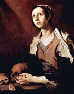painting of Saint Mary of Egypt by Jose de Ribera, 1651, Museo Civico Gaetano Filangieri, Naples, Italy; swiped off the Wikipedia web site