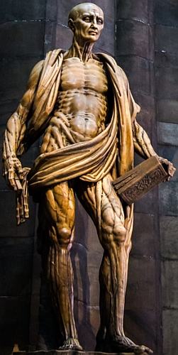 the statue 'Saint Bartholomew Flayed', by Marco d'Agrate, 1562; Milan Cathedral, Milan, Italy; photographed on 8 July 2014 by hjl; swiped from his flickr account and cropped