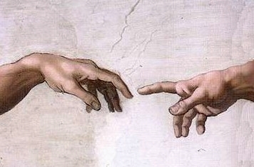 Hand of God giving life to Adam