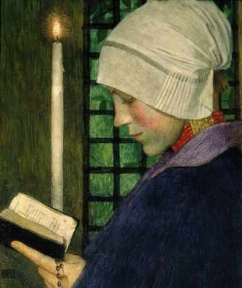 tempera of panel painting 'Candlemas Day' by Marianne Stokes, 1901; Tate Museum, London, England; swiped from Wikimedia Commons