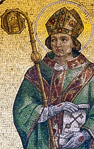 detail of a photograph of a mosaic of Saint Wilfrid of York in the Jesuit church in Preston, Lancashire, England; swiped with permission from the Flickr account of Brother Lawrence Lew OP