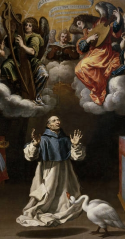 detail from the painting 'Apparition of Angel Musicians to Saint Hugh of Lincoln'; Vicente Carducho, c.1629; Museo del Prado, Madrid, Spain; swiped from Wikimedia Commons