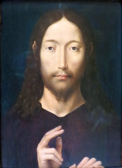 painting of Christ Giving His Blessing, by Hans Memling, 1478