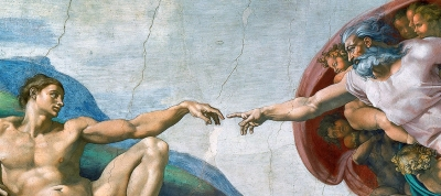 detail of the painting of the creation of Adam by Michelangelo