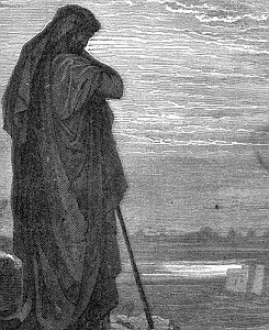 detail of an engraving of Amos the Prophet by Gustav Dore
