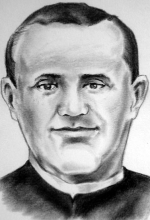 illustration of Blessed Andrés Avelino Gutiérrez Moral, date and artist unknown; swiped from Santi e Beati; click for source image