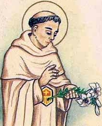 detail of an Italian holy card of Blessed Dionisio de Santarem by Bertoni, date unknown; swiped from Santi e Beati