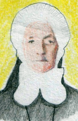 drawing of Blessed Karoline Anna Leidenix by István Tápai, 2011; swiped from Wikimedia Commons
