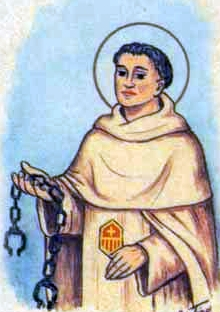 detail of an Italian holy card of Blessed Louis of Mercy, date and artist unknown; swiped from Santi e Beati