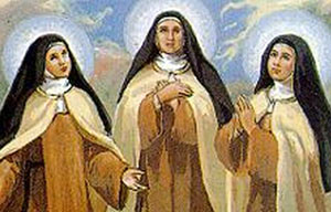 detail of a holy card of Blessed Maria Pilar, Blessed Teresa, and Blessed Maria Angeles, artist unknown; swiped from the Carmelnet web site