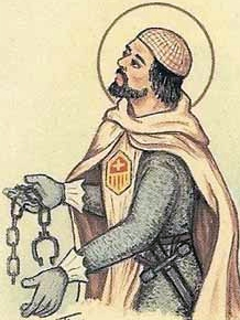 detail of an Italian holy card of Blessed William of Altavilla by Bertoni, date unknown; swiped from Santi e Beati