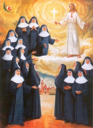 Martyred Sisters of the Christian Doctrine holy card, date and artist unknown; swiped from Santi e Beati; click for source image