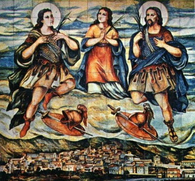 painting of the Martyrs of Venafro, date and artist unknown; swiped from Santi e Beati