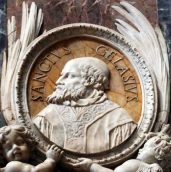 detail of a bas-relief portrait medallion of Pope Saint Gelasius I, date and artist unknown; Saint Peter's Basilica, Rome, Italy