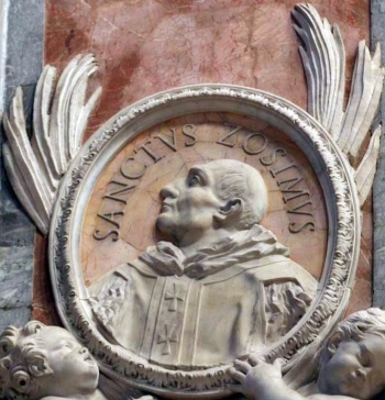 detail of a bas-relief portrait medallion of Pope Saint Zosimus, date and artist unknown; Saint Peter's Basilica, Rome, Italy