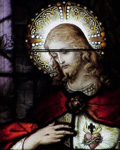 Sacred Heart of Jesus stained glass window, Saint Joseph's Cathedral, Macon, Georgia, USA; artist unknown; photographed by the author, summer 2003