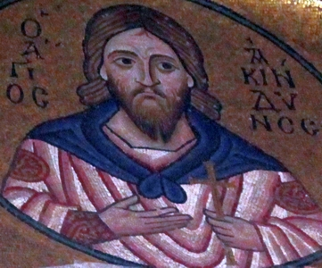 mosaic of Saint Acindynus; date and artist unknown; Monastery of Hosios Loukas, Greece; photographed on 16 November 2009 by Hans A. Rosbach; swiped from Wikimedia Commons; click for source image