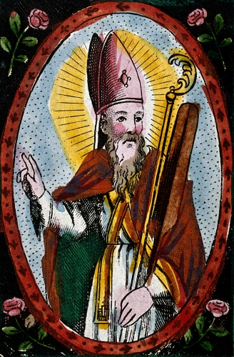 detail of a coloured engraving of Saint Adalbert of Prague, date and artist unknown; Wellcome Library, London, England; click for source image