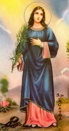 Saint Agatha of Sicily holy card by Bertoni, date unknown