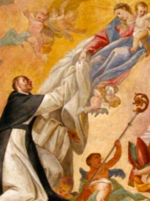 detail of a frescoe depicting Saint Alberic of Citeaux receiving the Cistercian habit from the Blessed Virgin Mary; artist unknown, c.1742; Zirc Abbey Church, Hungary; swiped from Wikimedia Commons